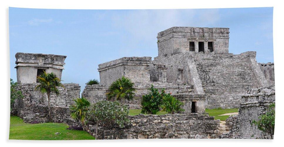 Tulum Mexico Beach Towel featuring the photograph Tulum Mayan Ruins by Glenn Gordon