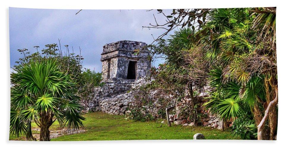 Tulum Beach Towel featuring the photograph Tulum Watchtower by Tammy Wetzel