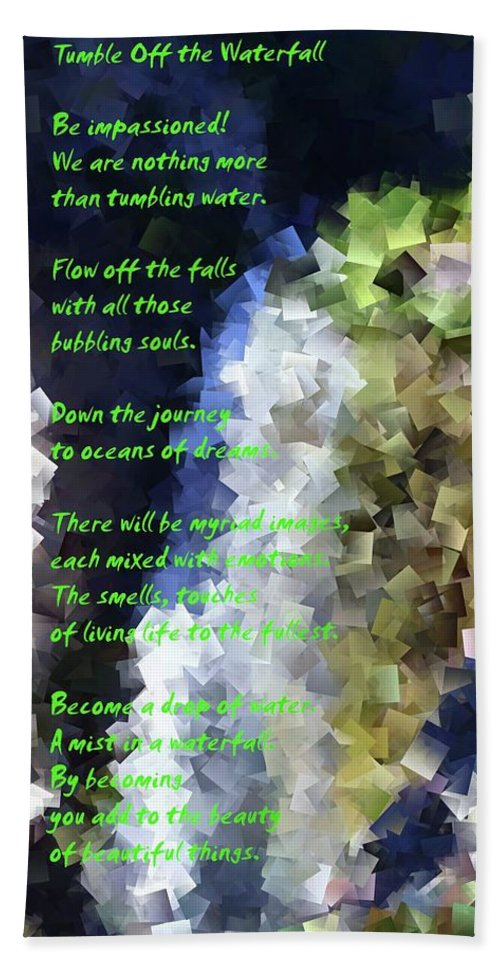 Poems Beach Towel featuring the photograph Tumble Off The Waterfall by Jeff Swan