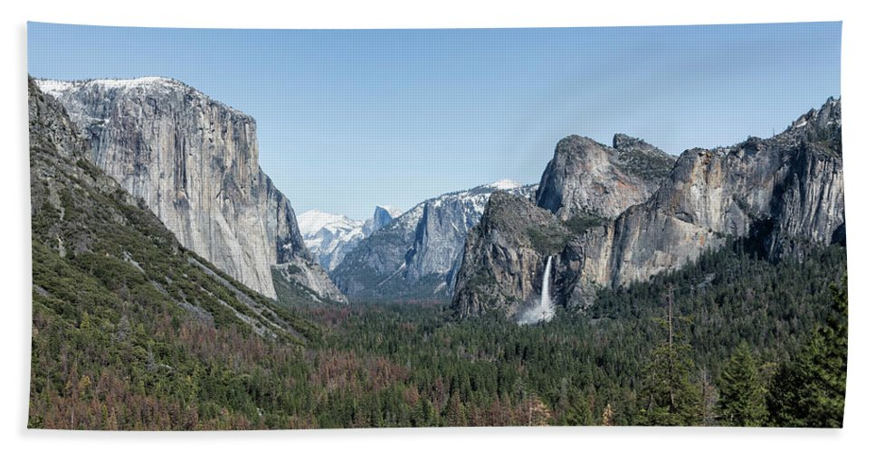 Yosemite Beach Towel featuring the photograph Tunnel View Of Yosemite During Spring by Belinda Greb