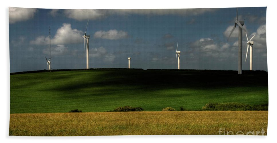Wind Turbines Nr Goonhaven Beach Towel featuring the photograph Turbines At Goonhaven by Rob Hawkins