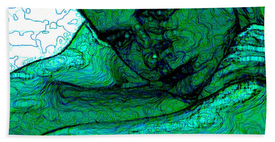 Abstract Beach Sheet featuring the digital art Turquoise Man by Stephen Lucas