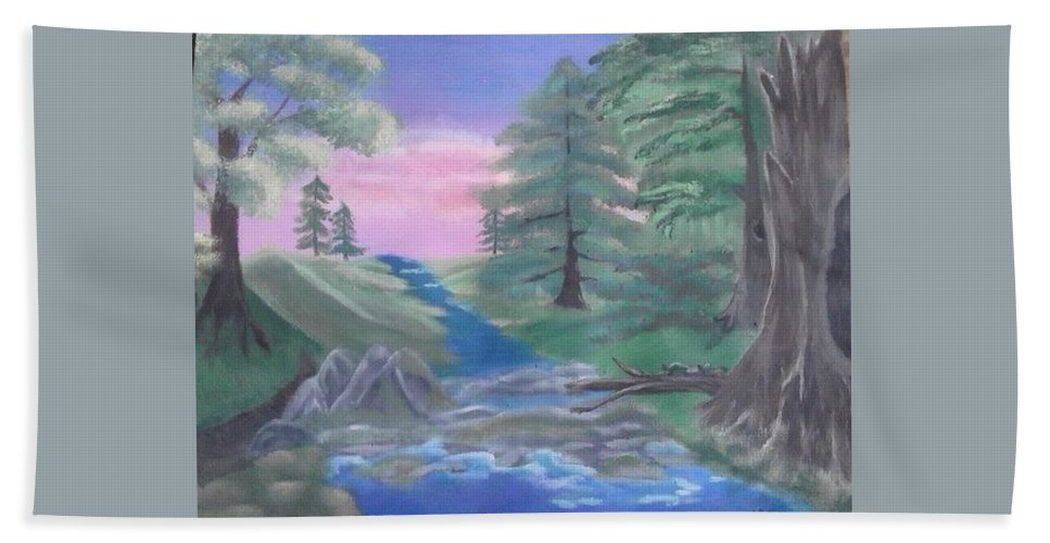 Bob Ross Style Beach Towel featuring the painting Turtle Crossing by Lori Lafevers
