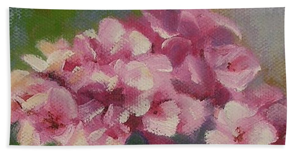 Still Life Beach Towel featuring the painting Tuscan Flower Pot Oil Painting by Chris Hobel