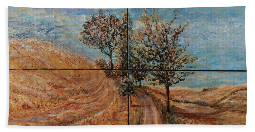 Landscape Beach Towel featuring the painting Tuscan Journey by Nadine Rippelmeyer