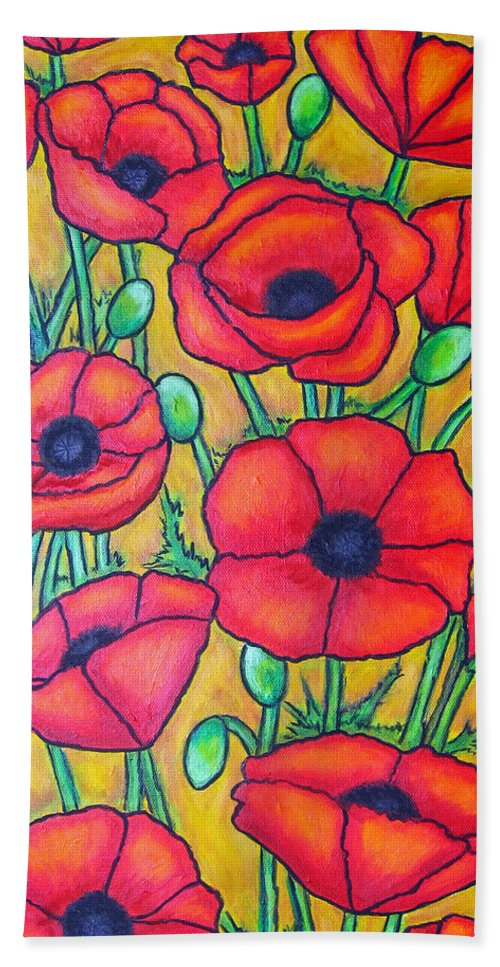Poppies Beach Sheet featuring the painting Tuscan Poppies - Crop 1 by Lisa Lorenz