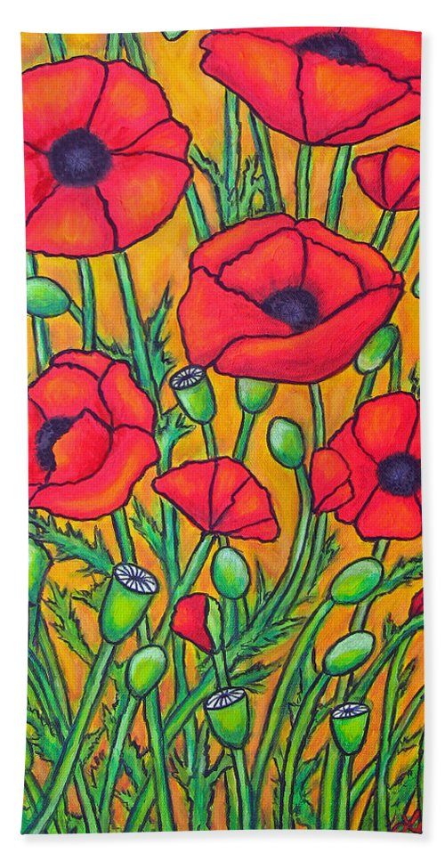 Poppies Beach Sheet featuring the painting Tuscan Poppies - Crop 2 by Lisa Lorenz