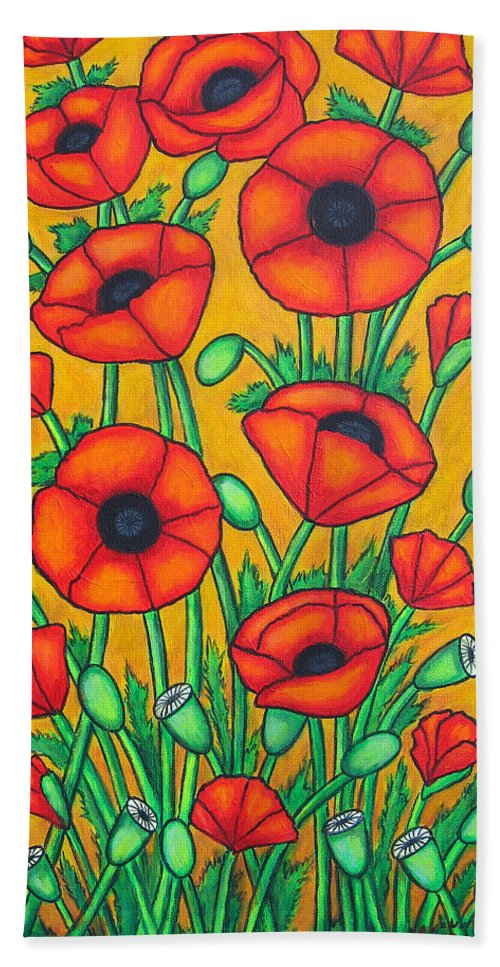 Colourful Beach Towel featuring the painting Tuscan Poppies by Lisa Lorenz