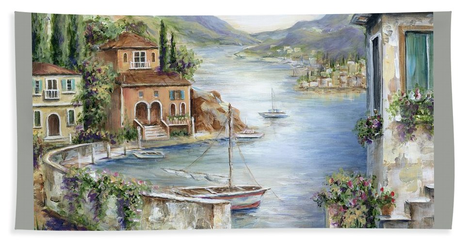Tuscany Beach Sheet featuring the painting Tuscan Villas By The Sea II     I by Marilyn Dunlap