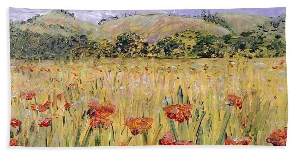 Poppies Beach Sheet featuring the painting Tuscany Poppies by Nadine Rippelmeyer