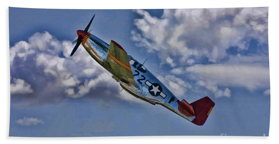 P-51 Beach Towel featuring the digital art Tuskegee Mustang Red Tail by Tommy Anderson