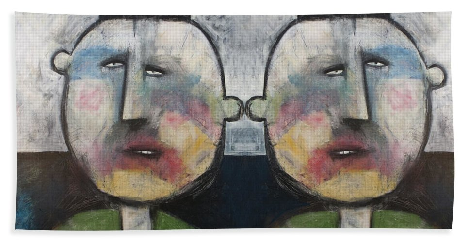 Tweedledee Beach Towel featuring the painting Tweedledee And Tweedledum by Tim Nyberg