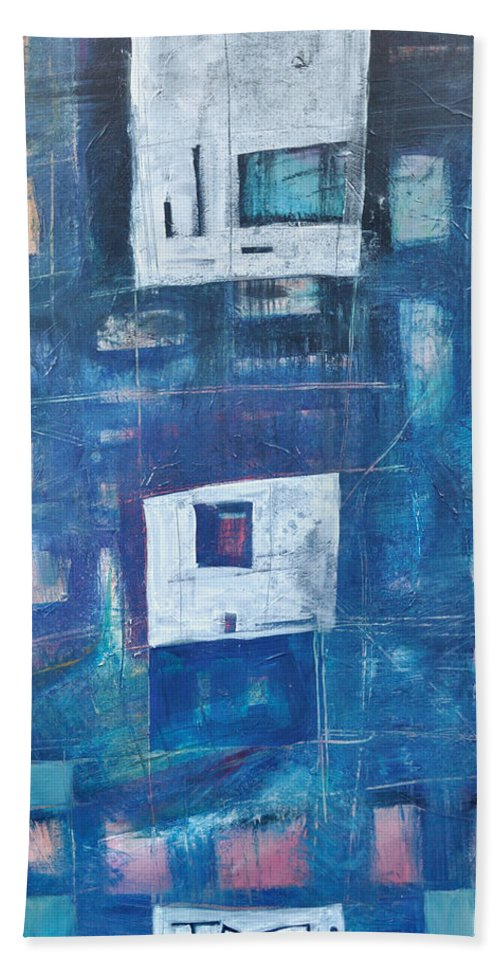 Abstract Beach Towel featuring the painting Twilight Highrise by Tim Nyberg