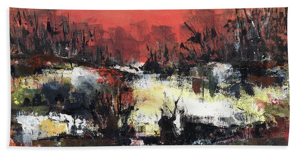 Abstract Beach Sheet featuring the painting Twilight Madness by Aniko Hencz