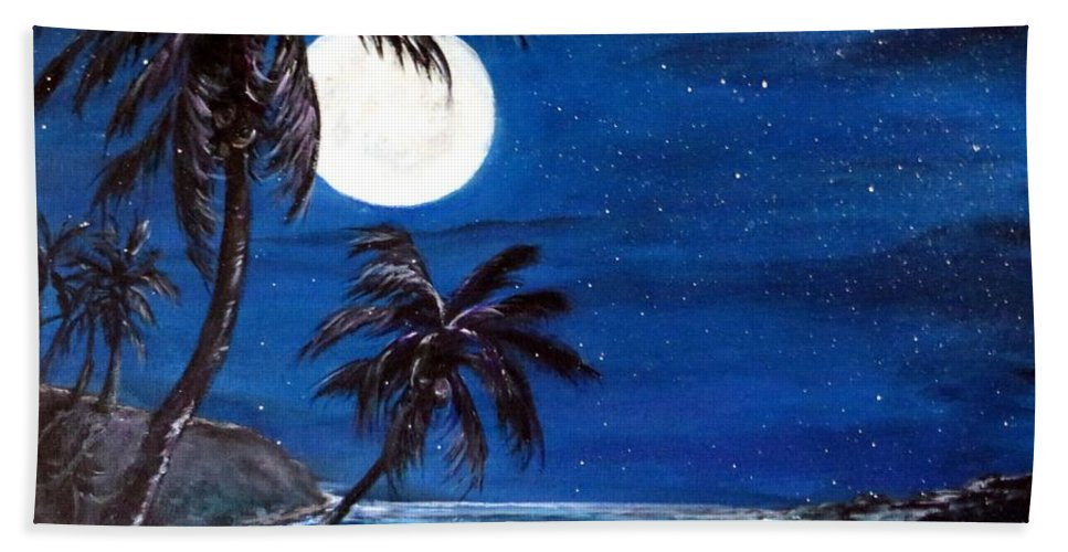Twilight Beach Towel featuring the painting Twilight On The Bay by Bernadette Krupa