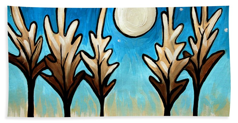 Tree Beach Towel featuring the painting Twilight Woods by Elizabeth Robinette Tyndall