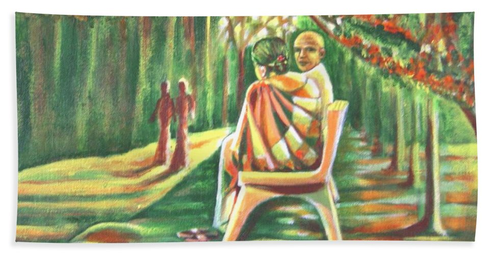 Twilight Beach Towel featuring the painting Twilight Years by Usha Shantharam