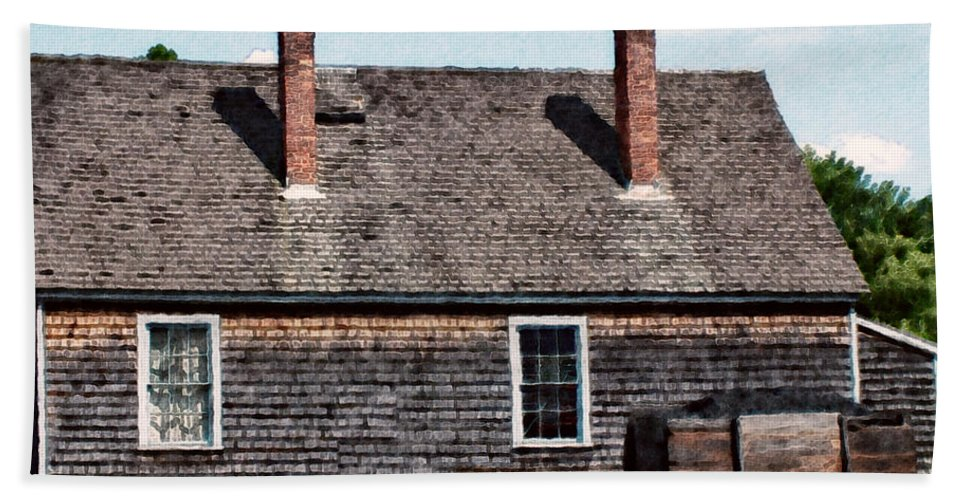 House Beach Towel featuring the painting Twin Chimneys by RC DeWinter