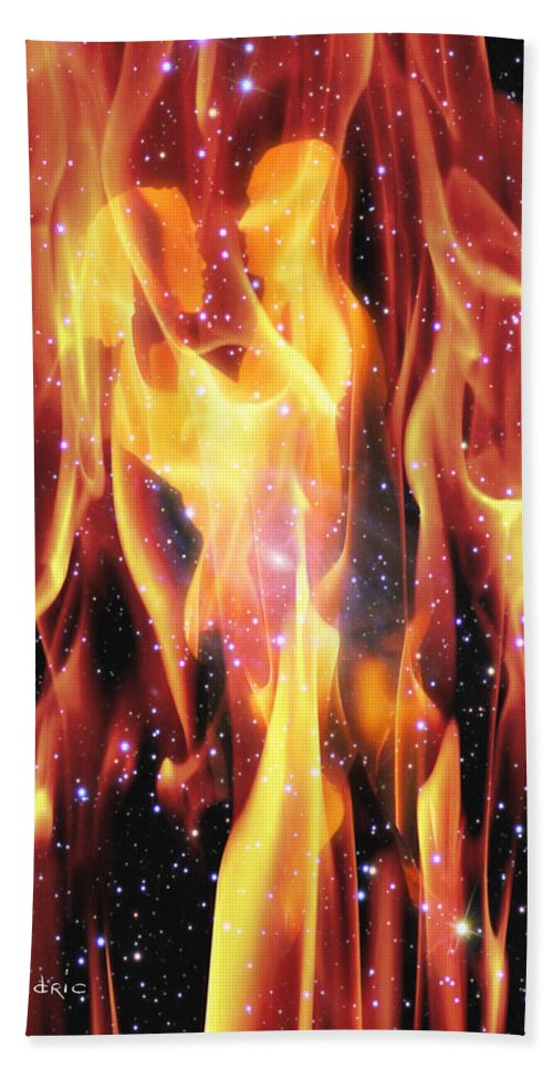 Twin Beach Towel featuring the digital art Twin Flames by Dedric Artlove W