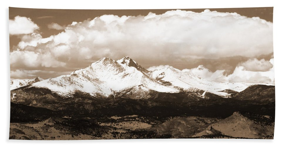 Twin Peeks Beach Towel featuring the photograph Twin Peaks In Sepia by James BO Insogna