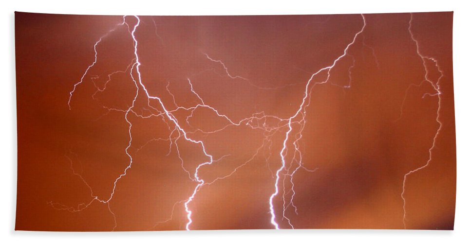Lightning Beach Towel featuring the photograph Twin Strike by Anthony Jones