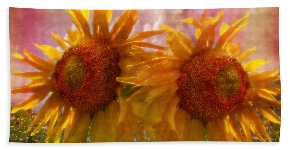 Appalachia Beach Towel featuring the photograph Twin Sunflowers by Debra and Dave Vanderlaan