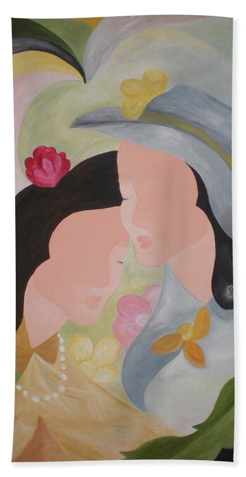 Women Beach Towel featuring the painting Twins by Graciela Castro