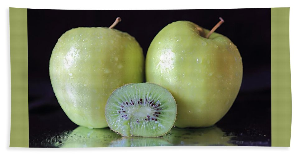 Fruit Beach Towel featuring the photograph Two Apples And A Kiwi by Angela Murdock