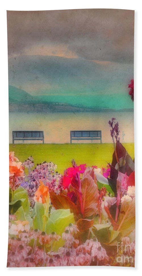 Lake Beach Towel featuring the photograph Two Benches by Tara Turner