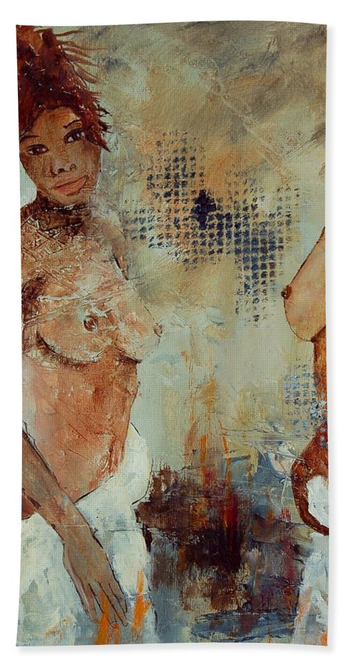 Girl Nude Beach Sheet featuring the painting Two Black Sisters by Pol Ledent