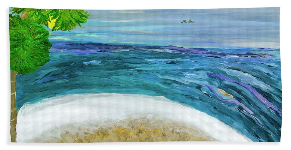 Beach Scene Beach Towel featuring the painting Two By Two At Midnight Blue by Sara Credito