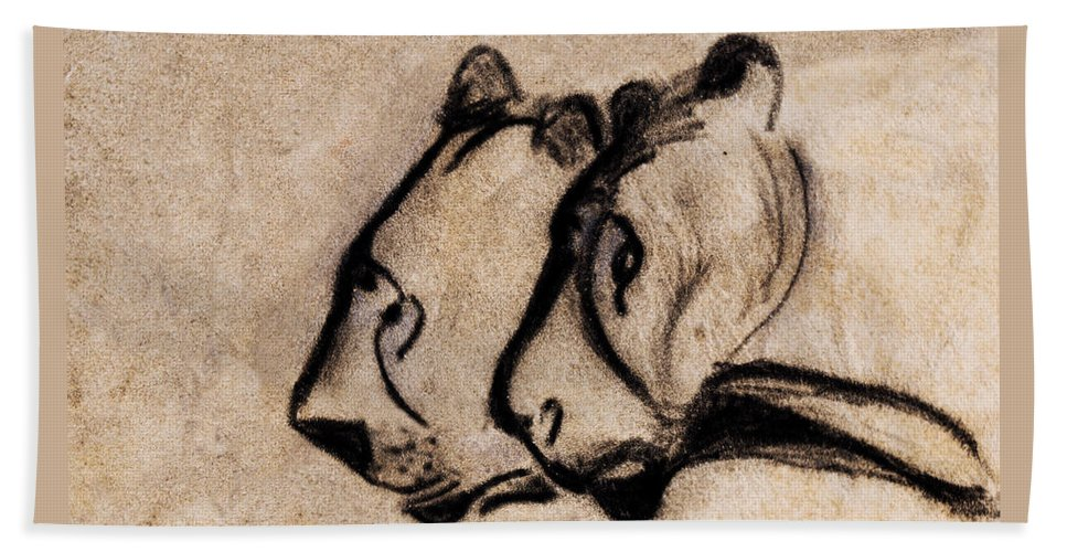 Two Chauvet Cave Lions Clear Version Beach Towel For Sale By Weston Westmoreland
