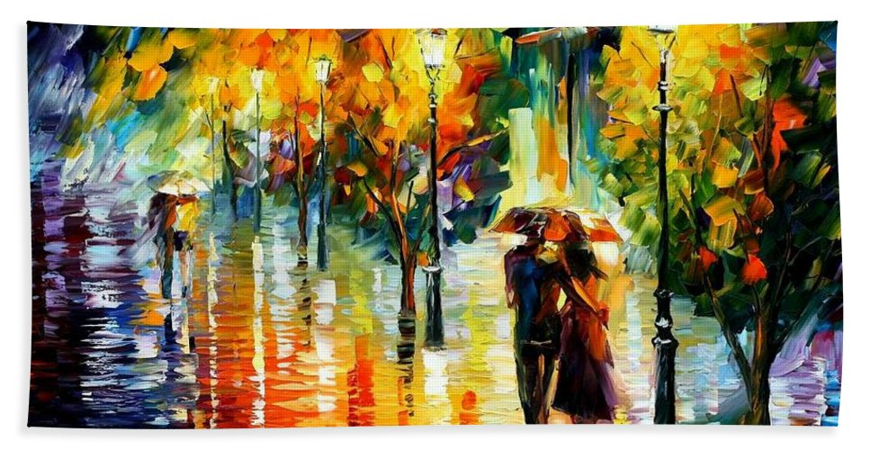 Afremov Beach Towel featuring the painting Two Couples by Leonid Afremov