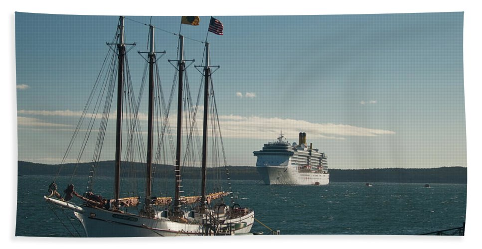 margaret Todd Beach Towel featuring the photograph Two Cruise Ships by Paul Mangold