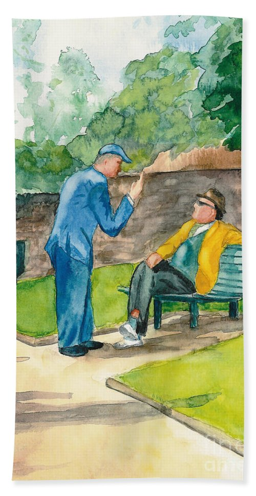 Watercolor Beach Towel featuring the painting Two Englishmen In Conversation by Vicki Housel