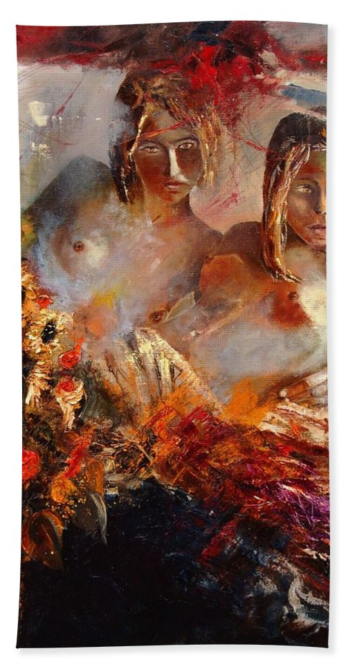 Girl Nude Beach Sheet featuring the painting Two Friends by Pol Ledent