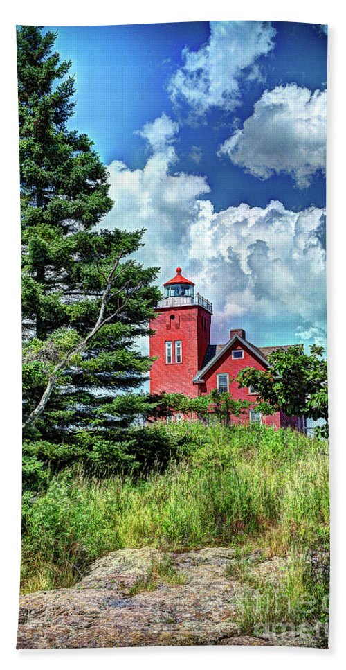 Lake Beach Towel featuring the photograph Two Harbors Lighthouse by Deborah Klubertanz