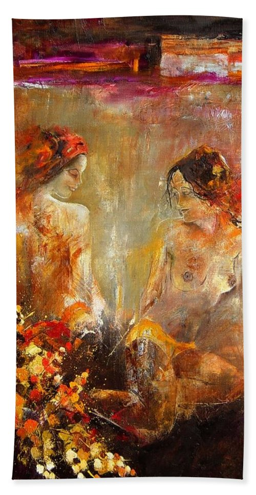 Girl Nude Beach Sheet featuring the painting Two Nudes by Pol Ledent
