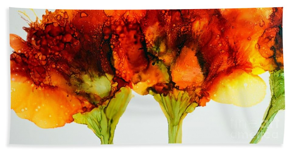 Floral Beach Towel featuring the painting Two Of Three by Beth Kluth