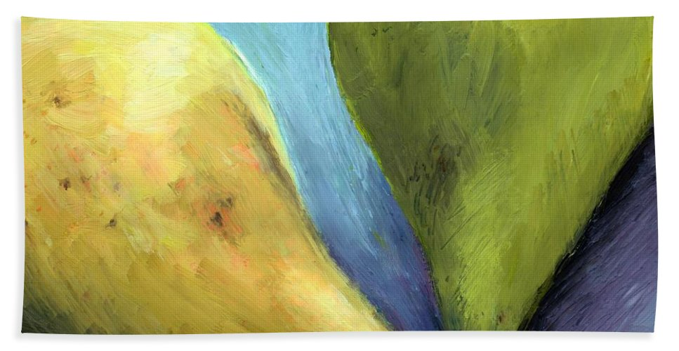 Pear Beach Sheet featuring the painting Two Pears Still Life by Michelle Calkins