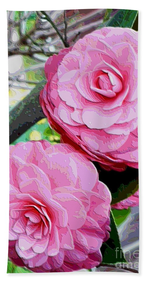 Camellia Beach Towel featuring the photograph Two Pink Camellias - Digital Art by Carol Groenen