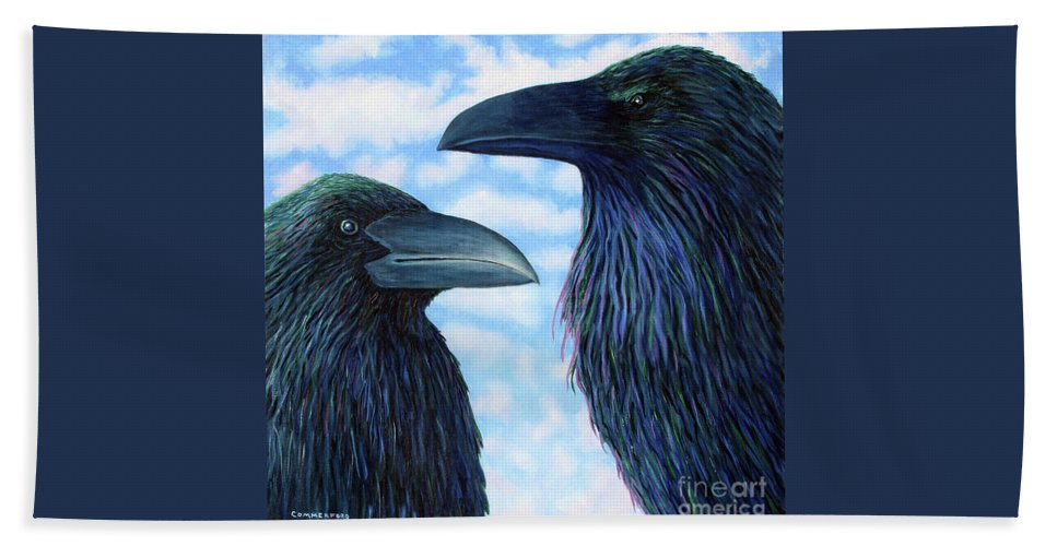 Raven Beach Towel featuring the painting Two Ravens by Brian Commerford