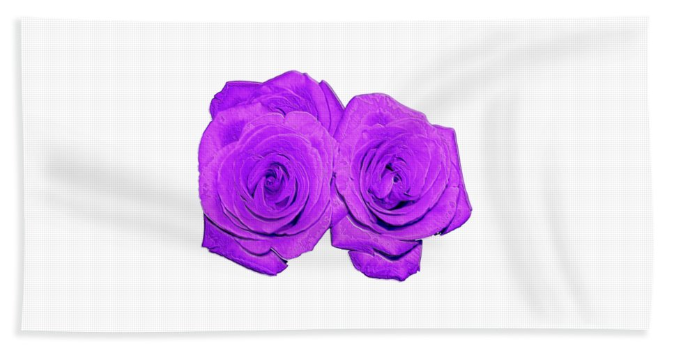 Two Roses Violet Purple And Enameled Effects Beach Towel featuring the photograph Two Roses Violet Purple And Enameled Effects by Rose Santuci-Sofranko