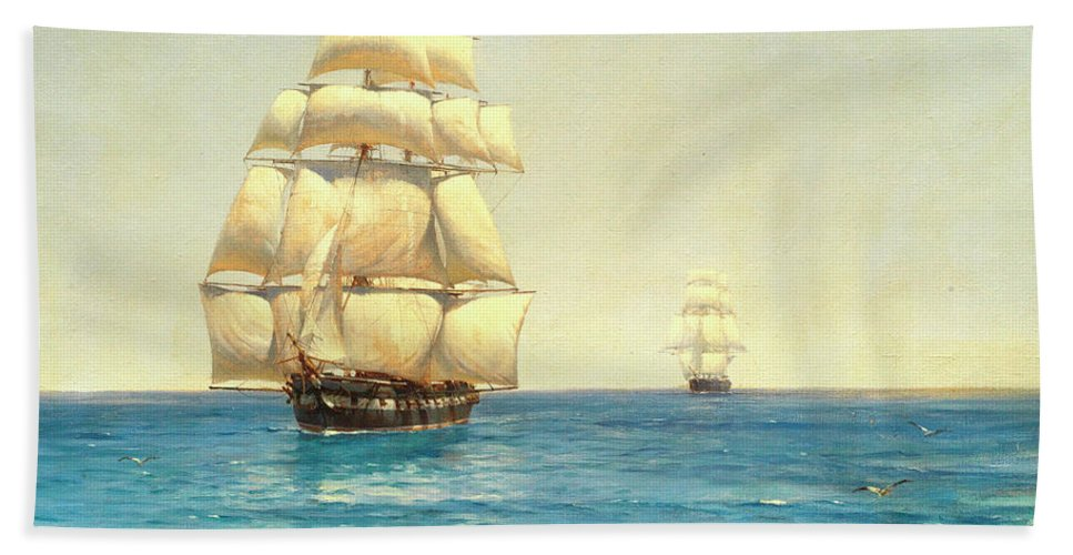 Royal Beach Towel featuring the painting Two Royal Navy Corvettes On Patrol In The Southern Ocean by Thomas Jacques Somerscales