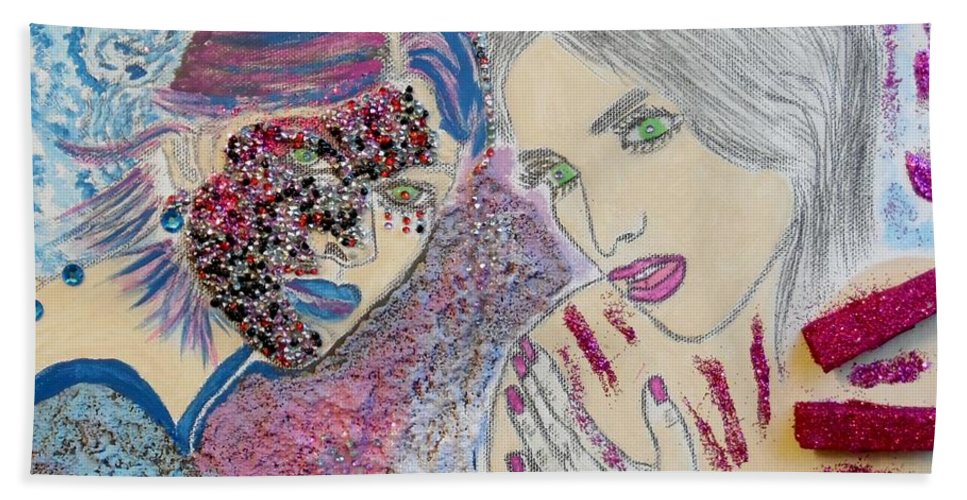 Fantasy Beach Towel featuring the mixed media Two Sparkling Females by Nicole Burrell