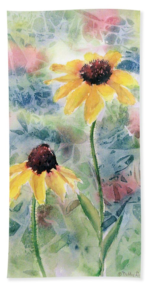 Watercolor Beach Towel featuring the painting Two Sunflowers by Debbie Lewis