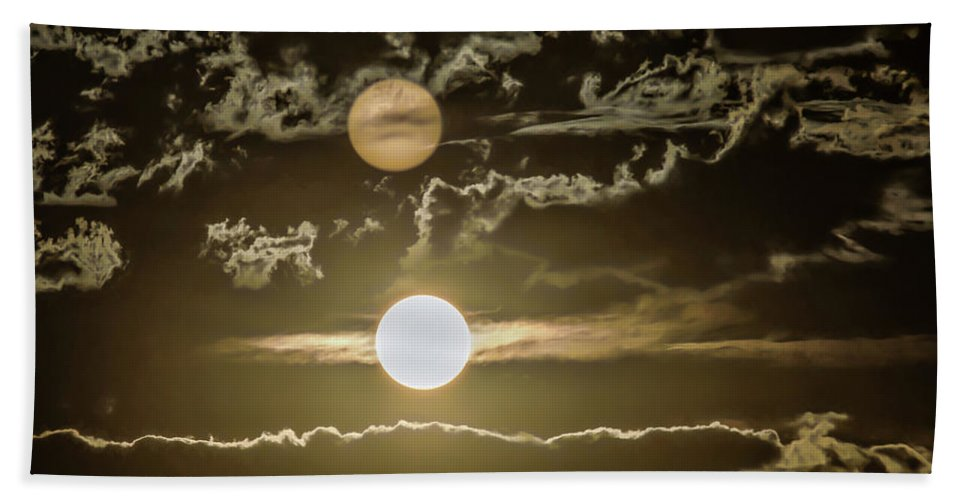 Two Suns Beach Towel featuring the photograph Two Suns by Janice Bennett