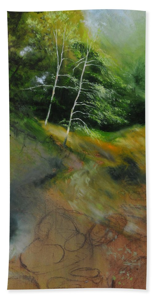 Landscape Beach Towel featuring the painting Two Trees In Light by Harry Robertson