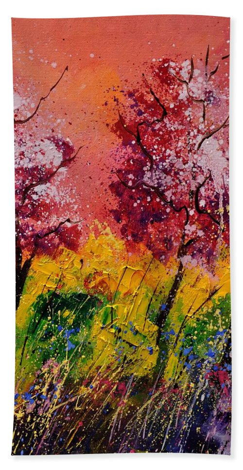 Landscape Beach Towel featuring the painting Two Trees by Pol Ledent