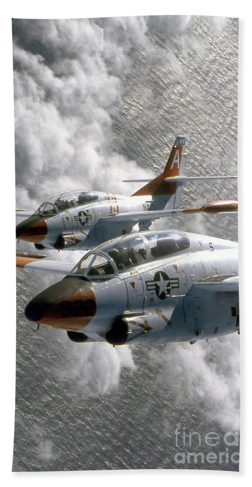 Vertical Beach Towel featuring the photograph Two U.s. Navy T-2c Buckeye Aircraft by Stocktrek Images